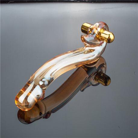 Glas Dildo Golden, gebogen mit Vibrator, Länge 18 cm